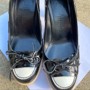 Chanel black patent leather stacked heels shoes